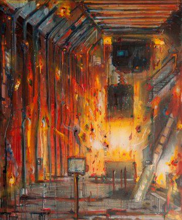 Industrial silence, Oil, Acrylics & Aerosol, 100 x 120 cm, 2013