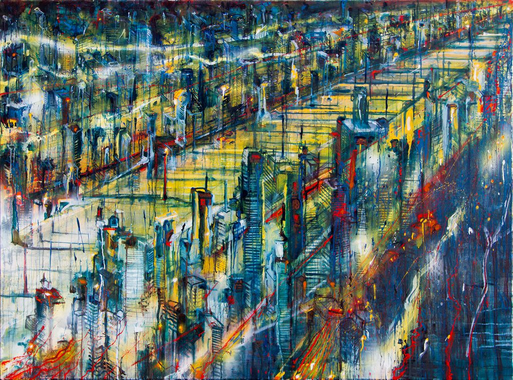 Trouble city, Oil & Aerosol, 175 x 130 cm, 2013