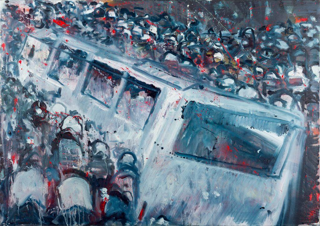 Confrontation, Oil & aerosol, 70 x 100 cm, 2015